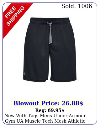 with tags mens under armour gym ua muscle tech mesh athletic logo short