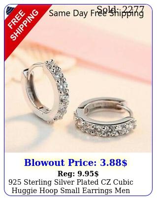 sterling silver plated czcubic huggie hoop small earrings men women