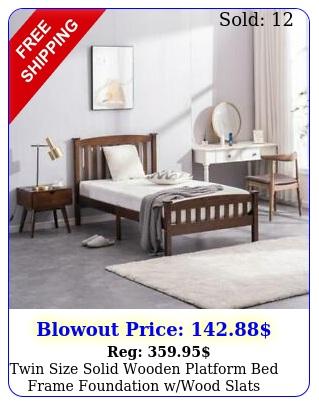 twin size solid wooden platform bed frame foundation wwood slats bedroom walnu