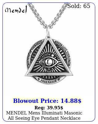 mendel mens illuminati masonic all seeing eye pendant necklace stainless stee