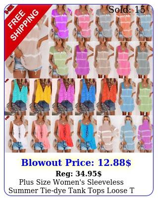 plus size women's sleeveless summer tiedye tank tops loose t shirts tops blous