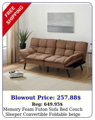 memory foam futon sofa bed couch sleeper convertible foldable beige full siz