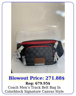 coach mens track belt bag in colorblock signature canvas style no