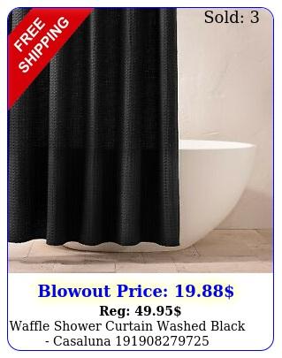 waffle shower curtain washed black casalun