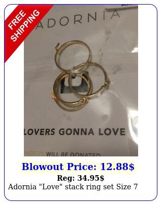 adornia love stack ring set siz