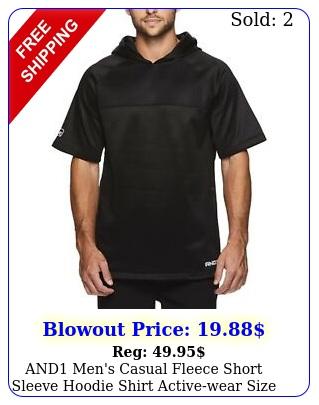 and men's casual fleece short sleeve hoodie shirt activewear size mediu