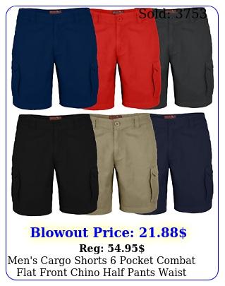 men's cargo shorts pocket combat flat front chino half pants waist siz