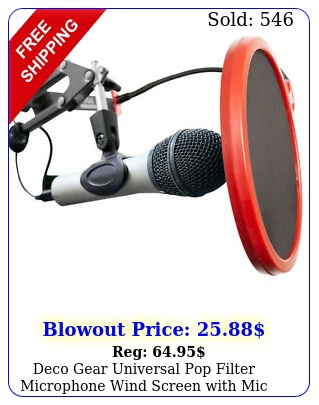 deco gear universal pop filter microphone wind screen with mic stand cli