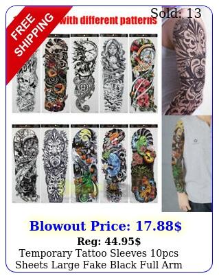 temporary tattoo sleeves pcs sheets large fake black full arm tattoo sticker