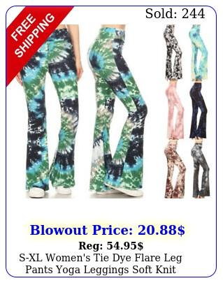 sxl women's tie dye flare leg pants yoga leggings soft knit stretch high wais