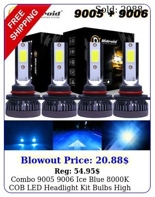 combo  ice blue k cob led headlight kit bulbs high low beam u