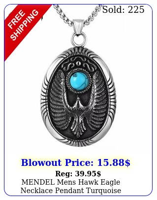 mendel mens hawk eagle necklace pendant turquoise stainless steel chain silve