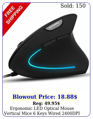 ergonomic led optical mouse vertical mice keys wired dpi abs pc lapto