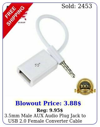 mm male aux audio plug jack to usb female converter cable cord car m