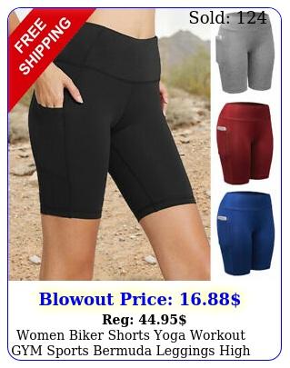women biker shorts yoga workout gym sports bermuda leggings high waist mid pant