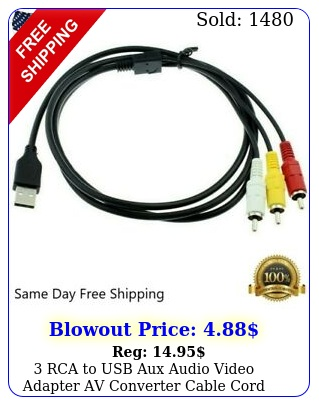 rca to usb aux audio video adapter av converter cable cord link rbb us stoc