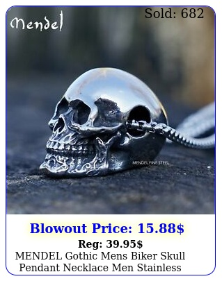 mendel gothic mens biker skull pendant necklace men stainless steel chain silve