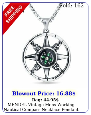mendel vintage mens working nautical compass necklace pendant stainless stee