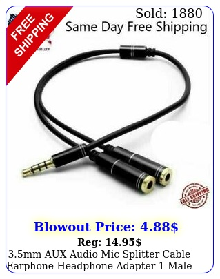 mm aux audio mic splitter cable earphone headphone adapter male to femal