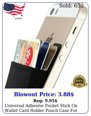 universal adhesive pocket stick on wallet card holder pouch case cell phon