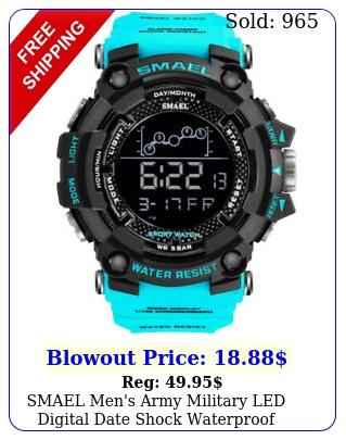 smael men's army military led digital date shock waterproof quartz wrist watc