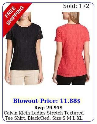 calvin klein ladies stretch textured tee shirt blackred size s m l xl xxl nw
