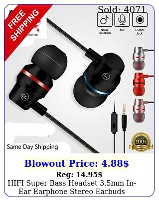 hifi super bass headset mm inear earphone stereo earbuds headphone wire