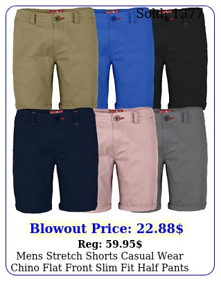 mens stretch shorts casual wear chino flat front slim fit half pant