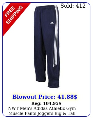 nwt men's adidas athletic gym muscle pants joggers big tall extra long