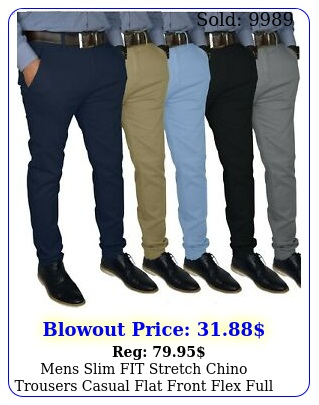 mens slim fit stretch chino trousers casual flat front flex full pant