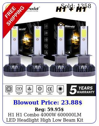 h h combo w lm led headlight high low beam kit bulbs white k