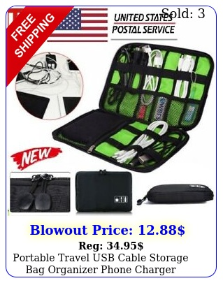 portable travel usb cable storage bag organizer phone charger accessories cas