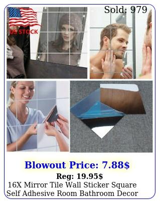 x mirror tile wall sticker square self adhesive room bathroom decor stick u
