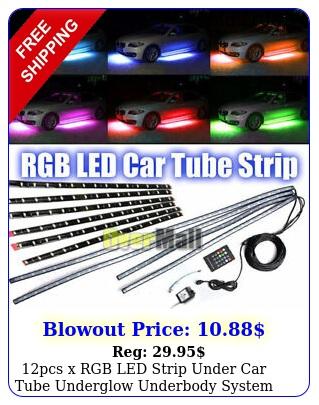 pcs x rgb led strip under car tube underglow underbody system neon lights ki