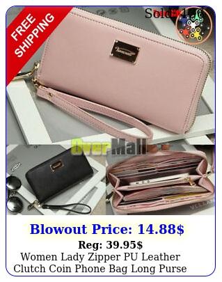 women lady zipper pu leather clutch coin phone bag long purse wallet card holde