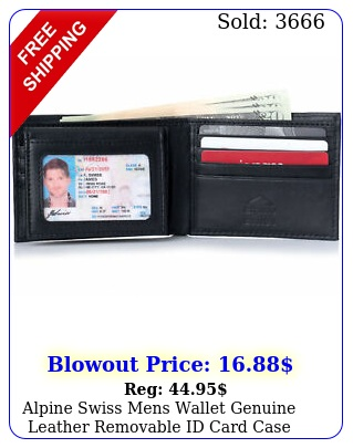 alpine swiss mens wallet genuine leather removable id card case bifold passcas