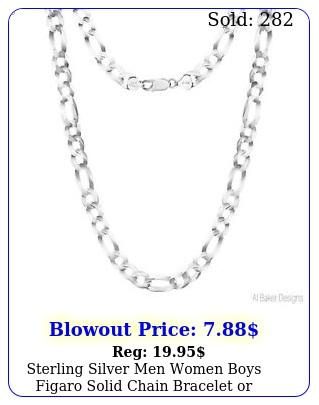 sterling silver men women boys figaro solid chain bracelet or necklace ital