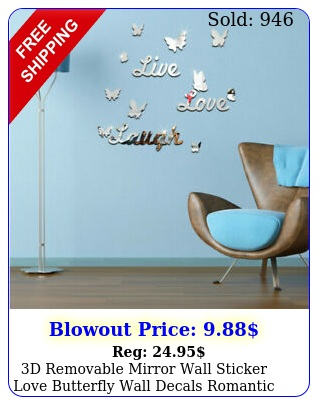 d removable mirror wall sticker love butterfly wall decals romantic home deco