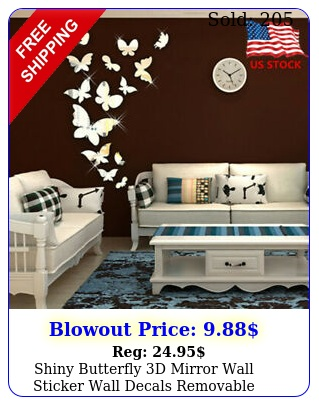 shiny butterfly d mirror wall sticker wall decals removable modern home deco