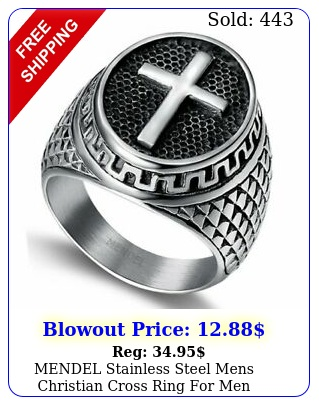mendel stainless steel mens christian cross ring men women silver siz