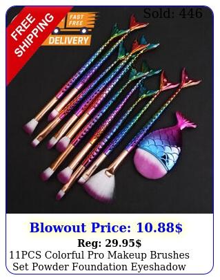 pcs colorful pro makeup brushes set powder foundation eyeshadow brush too