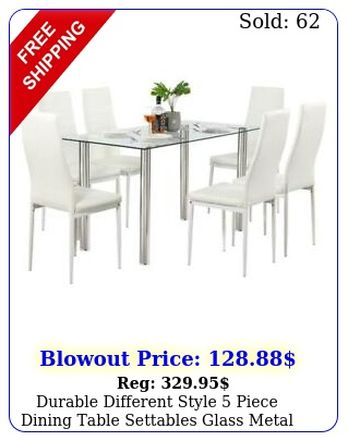 durable different style piece dining table settables glass metal furnitur