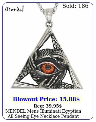 mendel mens illuminati egyptian all seeing eye necklace pendant stainless stee