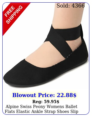 alpine swiss peony womens ballet flats elastic ankle strap shoes slip on loafer