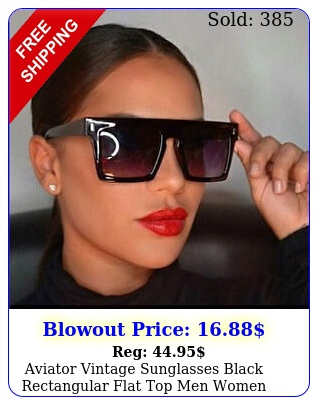 aviator vintage sunglasses black rectangular flat top men women fashion oversiz
