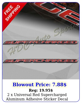 x universal red supercharged aluminum adhesive sticker decal emblem badg