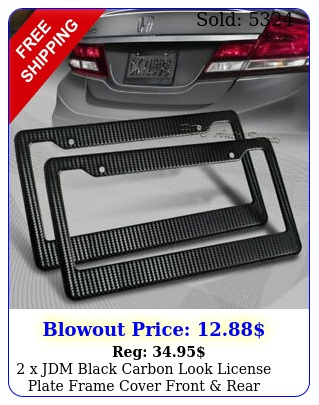 x jdm black carbon look license plate frame cover front rear universa