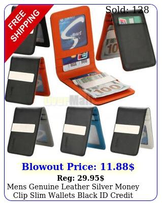 mens genuine leather silver money clip slim wallets black id credit card holde