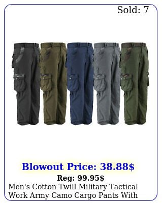men's cotton twill military tactical work army camo cargo pants with bel