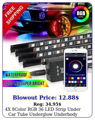 x color rgb led strip under car tube underglow underbody system light ki